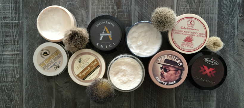 Shave Valet Saskatoon YXE Blog image featuring various traditional wet shaving soaps and shave brushes.
